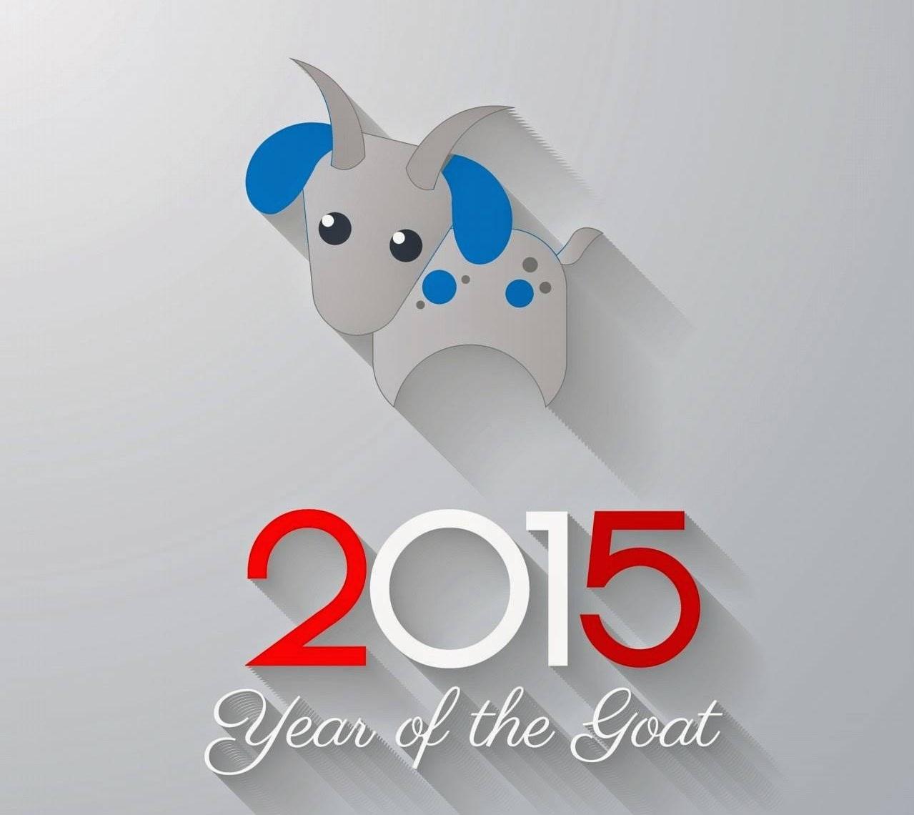 Chúc mừng năm mới 2015 hình vector cách điệu chú Dê